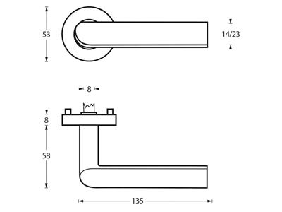 technische tekening deurkruk ovaal op rond rozet