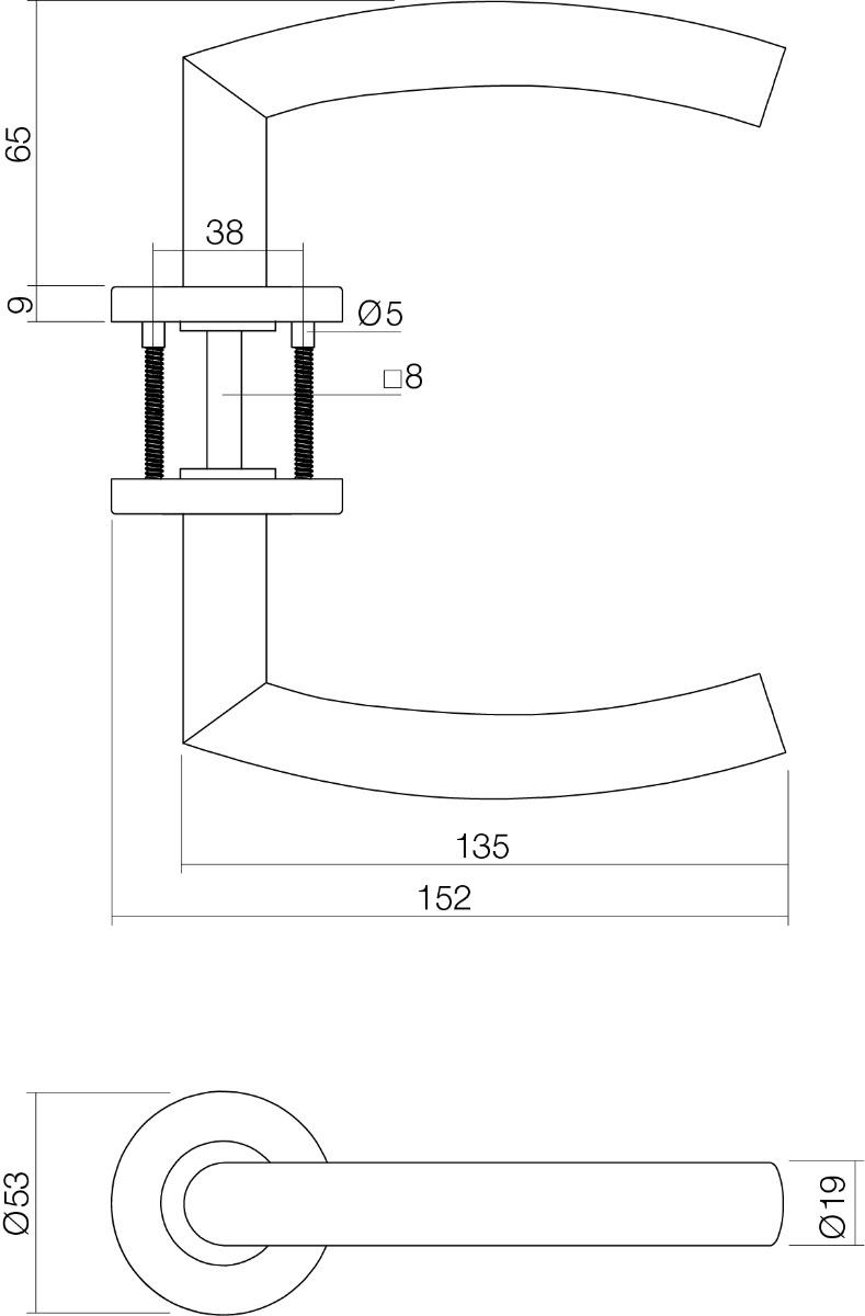 technische tekening deurkruk halfrond / hoek