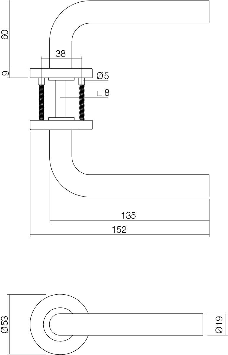 technische tekening deurkruk recht op rond rozet