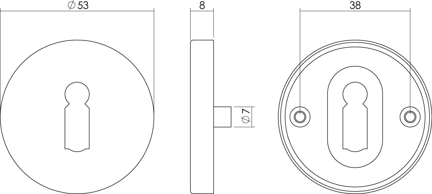 technische tekening sleutelplaatje rond staal