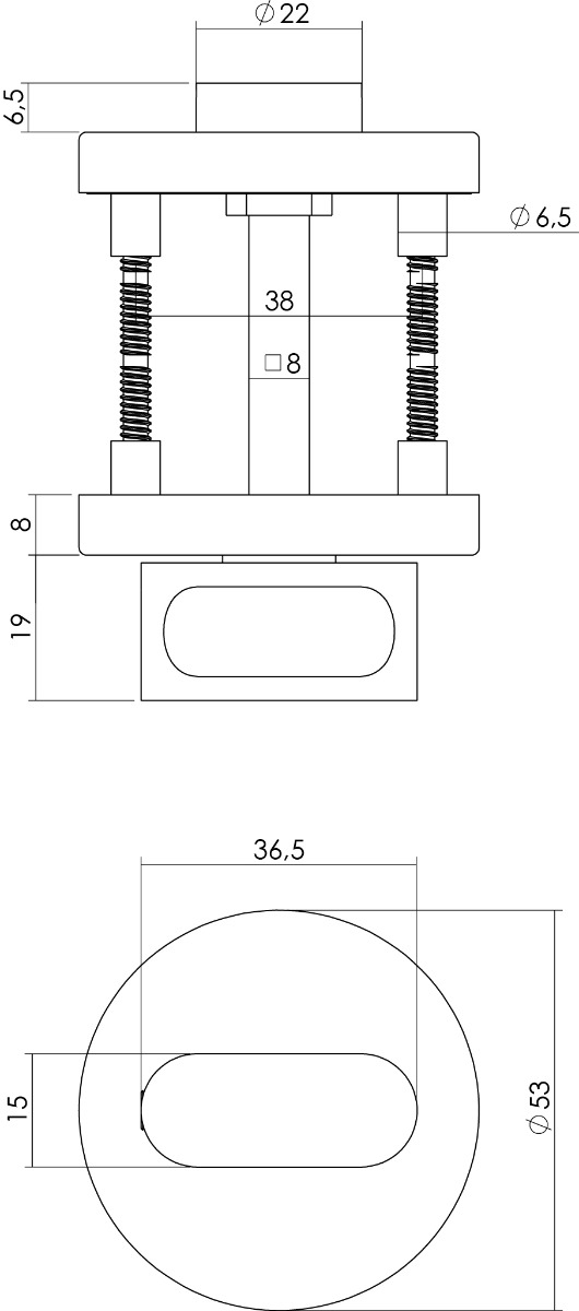 technische tekening wc sluiting
